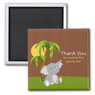 Cute Jungle Baby Elephant Thank You Magnet