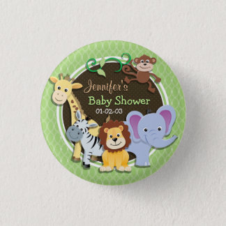 Cute Jungle Baby Shower; Bright Green Ovals 3 Cm Round Badge