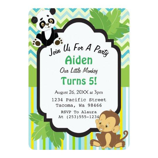 Cute Jungle Birthday Party Invitations