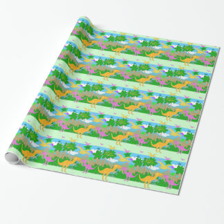 Cute Jungle Dinosaurs Wrapping Paper