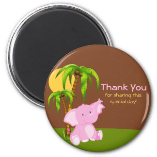 Cute Jungle Elephant Girl Thank You Magnet