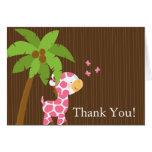 Cute Jungle Giraffe Girl Baby Shower Thank You Stationery Note Card