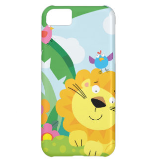 Cute Jungle Lion with Blue Bird iPhone 5C Cover