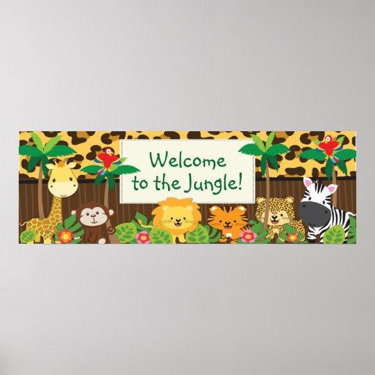 Cute Jungle Safari Animals Baby Shower Banner Poster