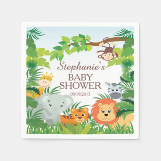 Cute Jungle Safari Animals Baby Shower Napkins Paper Napkin