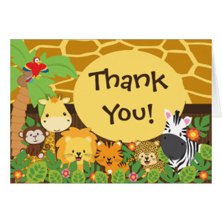 Cute Jungle Safari Animals Thank You Card