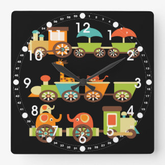 Cute Jungle Safari Animals Train Gifts Kids Baby Clock