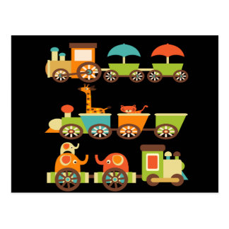 Cute Jungle Safari Animals Train Gifts Kids Baby Postcard