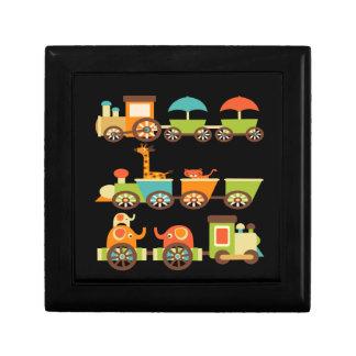 Cute Jungle Safari Animals Train Gifts Kids Baby Small Square Gift Box