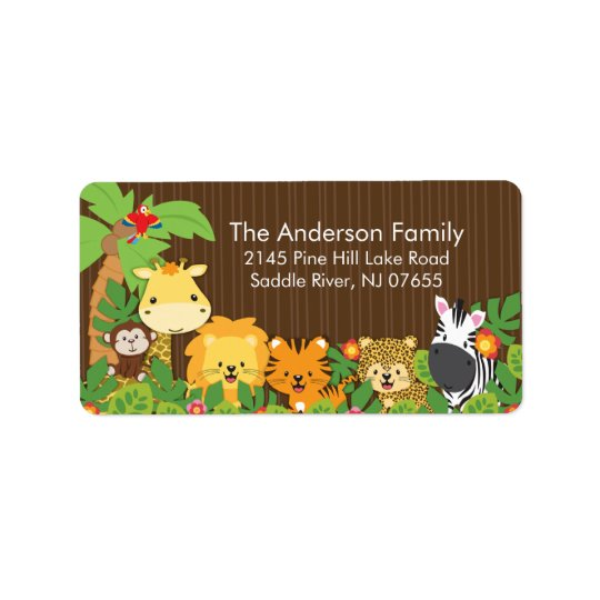 Cute Jungle Safari Baby Shower Address Label