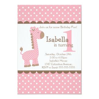 Cute Jungle Safari Pink Giraffe Birthday Party 13 Cm X 18 Cm Invitation Card