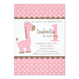 Cute Jungle Safari Pink Giraffe Birthday Party Card