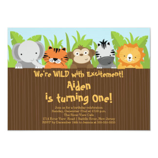 Cute Jungle Safari Zoo Animals Kids Birthday Card