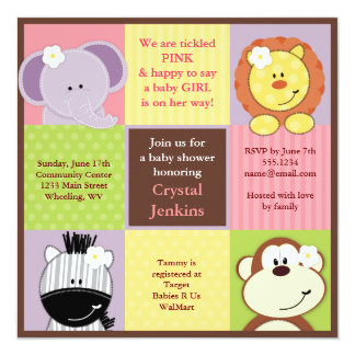 Cute Jungle Squares Baby Shower Invitation