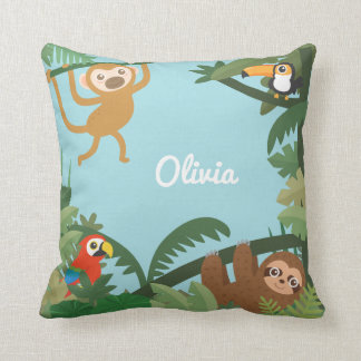 Cute Jungle Theme Nursery Room Decor Throw Pillow