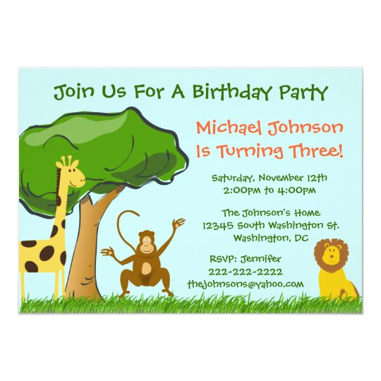 Cute Jungle Zoo Animals Grass Boy's Birthday Party