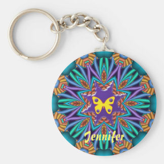 Cute kaleidoscope Ketchain with Name & Butterfly Basic Round Button Key Ring