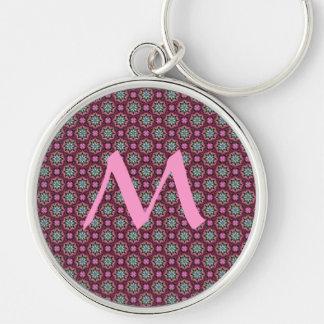 Cute kaleidoscopic tiny print monogram Silver-Colored round key ring