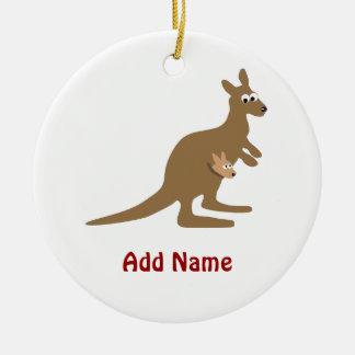 Cute Kangaroo and Joey Christmas Ornament