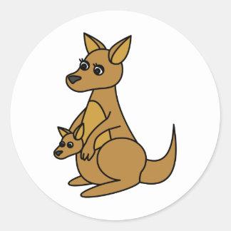 Cute Kangaroo and Joey Classic Round Sticker