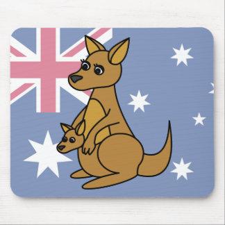 Cute Kangaroo and Joey Mouse Mat
