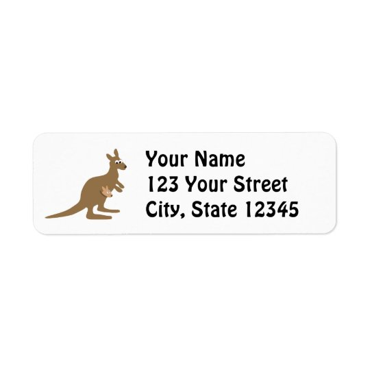 Cute Kangaroo and Joey Return Address Label