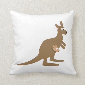 Cute Kangaroo and Joey Throw Pillow