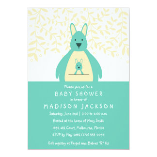 Cute Kangaroo Baby Shower Invitation | Teal