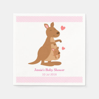 Cute Kangaroo Baby Shower Party Paper Napkins