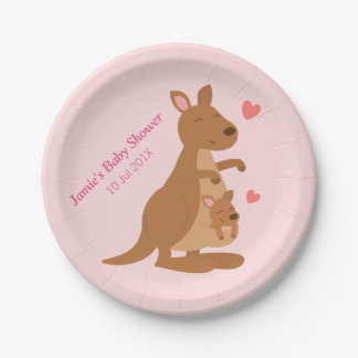 Cute Kangaroo Baby Shower Party Paper Plate