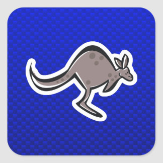 Cute Kangaroo; Blue Square Sticker