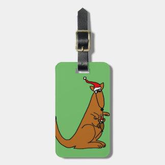 Cute Kangaroo Christmas Art Luggage Tag