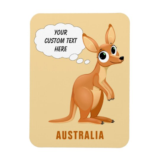 Cute Kangaroo custom text magnet