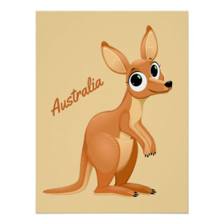 Cute Kangaroo custom text poster