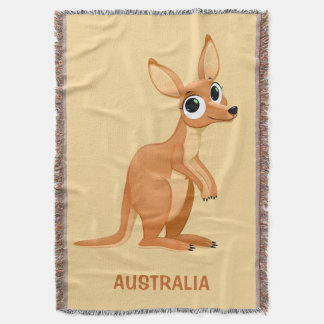 Cute Kangaroo custom text throw blanket