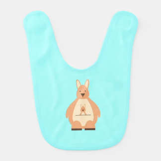 Cute Kangaroo on Teal Background Baby Bib