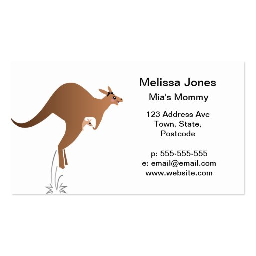 Cute kangaroo with baby in pouch business card template