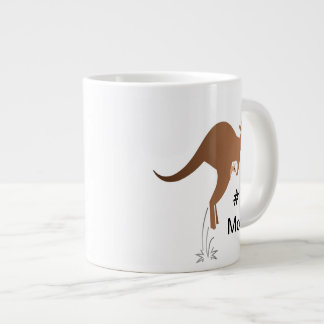 Cute kangaroo with baby in pouch large coffee mug