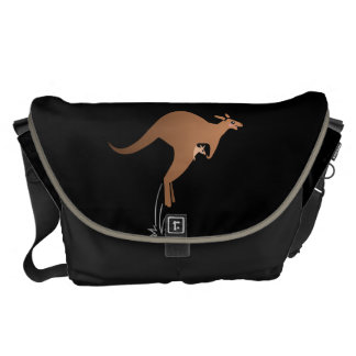 Cute kangaroo with baby in pouch messenger bag