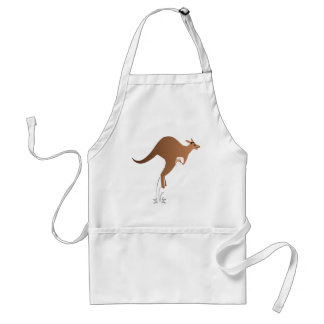 Cute kangaroo with baby in pouch standard apron