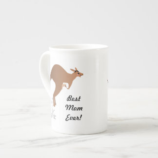Cute kangaroo with baby in pouch tea cup