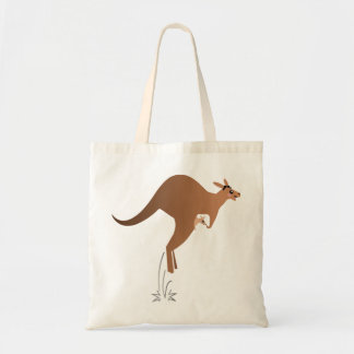 Cute kangaroo with baby in pouch canvas bag