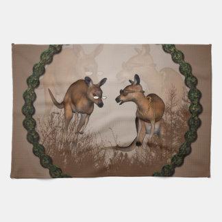 Cute kangaroos with sunglassees tea towel