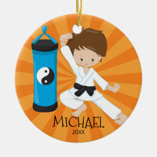 Cute Karate Boy Personalized Christmas Ornament
