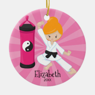 Cute Karate Girl Personalized Christmas Ornament