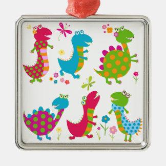 Cute,kawai,dinosaurs,kids,fun,happy,colourful,chic Silver-Colored Square Ornament