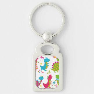 Cute,kawai,dinosaurs,kids,fun,happy,colourful,chic Silver-Colored Rectangle Key Ring