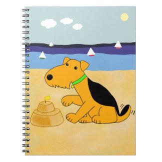 Cute Kawaii Airedale Dog at the Beach Notebook