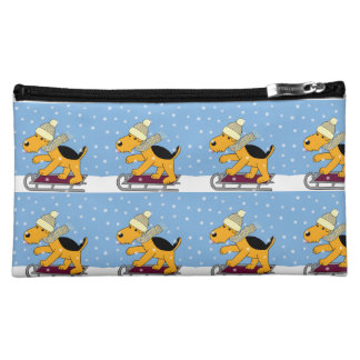 Cute Kawaii Airedale Dog on Sled Cosmetic Bag