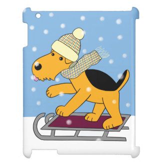 Cute Kawaii Airedale Dog on Sled iPad Case